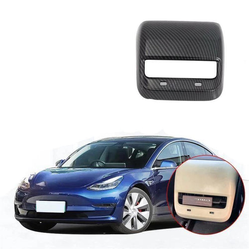 NINTE Interior Accessories Carbon Fiber Style Rear Air Vent Outlet Cover Trim For Tesla Model 3 2017-2019
