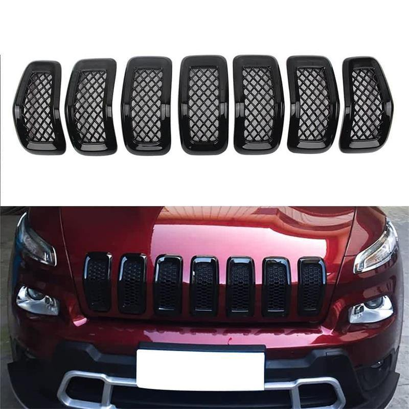 NINTE Jeep Cherokee 2014-2018 7 PCS ABS Gloss Black Chrome Front Mesh Grille Cover - NINTE
