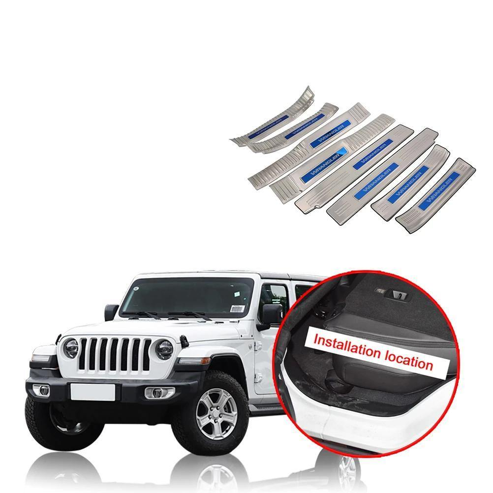 NINTE Jeep Wrangler JL 2018-2019 Door Sill Protector Cover Scuff Plate Entry Guard - NINTE