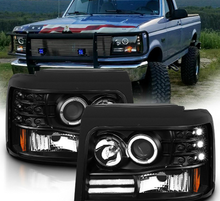 Load image into Gallery viewer, NINTE 1992-1996 Ford Bronco/F150/F250/F350 Projector Black Headlight [LED Halo] - NINTE