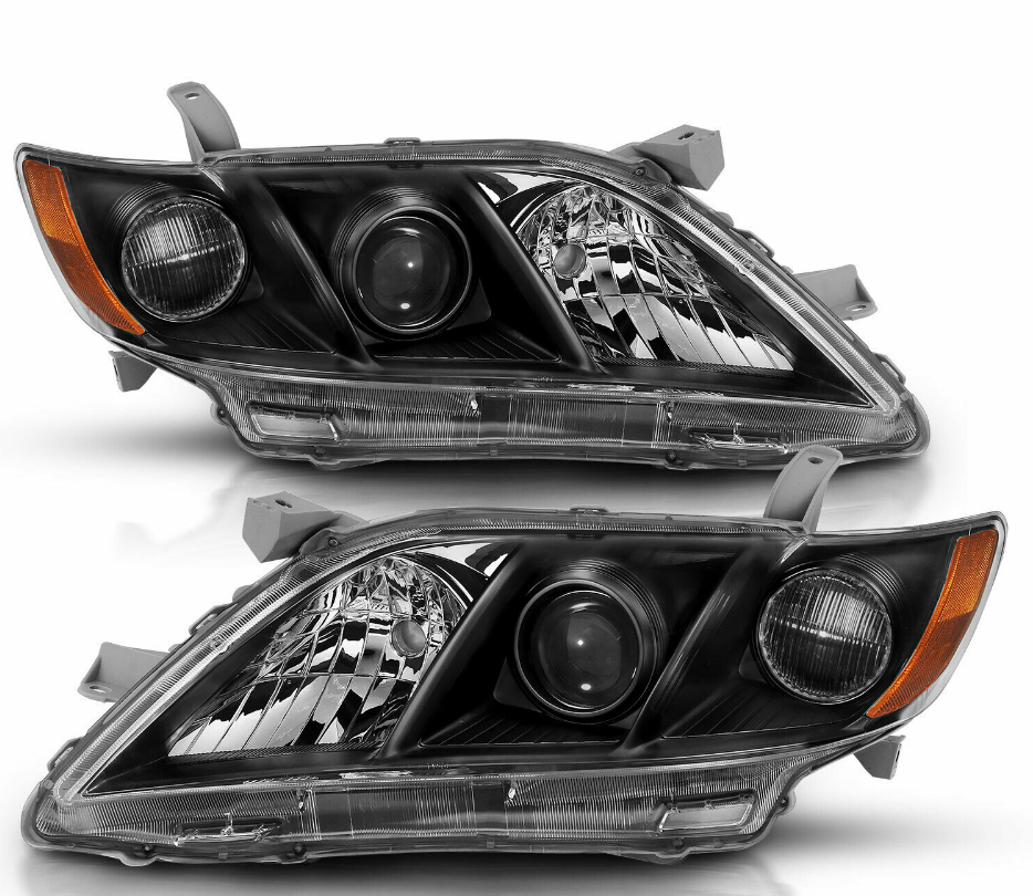 For 2007-2009 Toyota Camry Black Factory Style Projector Headlights Pair - NINTE