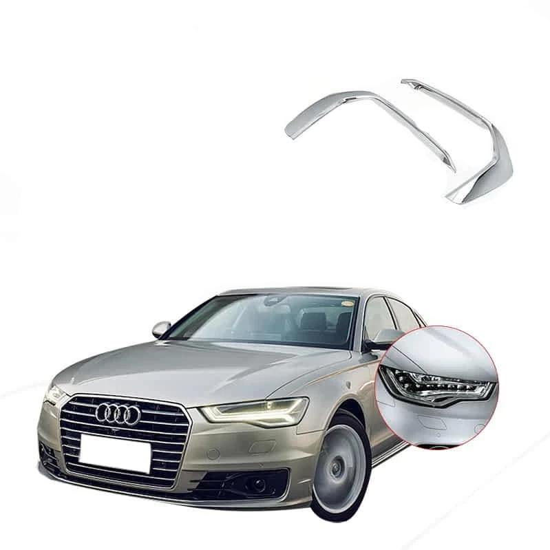 NINTE Chrome Front Fog Lamp Eyebrow Cover Trim For Audi A6L 2019 - NINTE