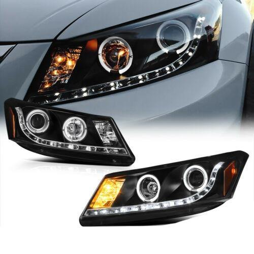 Halo Black Projector LED Headlight Lamp For Honda Accord 08-12 CP2 - NINTE
