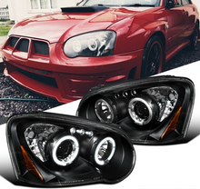 Load image into Gallery viewer, For Subaru 04-05 Impreza WRX LED Halo Projector Headlights Lamps Black Clear - NINTE