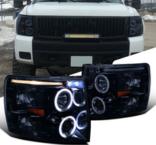 Load image into Gallery viewer, For Chevy 07-14 Silverado 1500 2500 3500 Black LED Halo Projector Headlights - NINTE