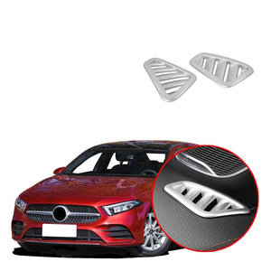 NINTE 2PCS Silver plating Upper Air Vent Outlet Cover Trim Fit for Mercedes-Benz New A-Class A220 W177 2019 - NINTE