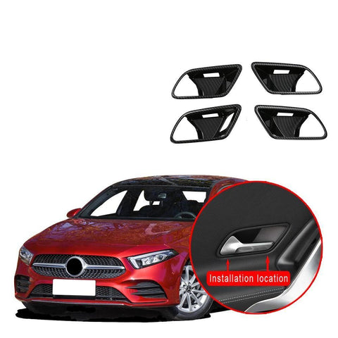 NINTE ABS Inner Door Bowl Wrist Cover Trim 4pcs Fit for Mercedes-Benz New A-Class A220 W177 2019 - NINTE