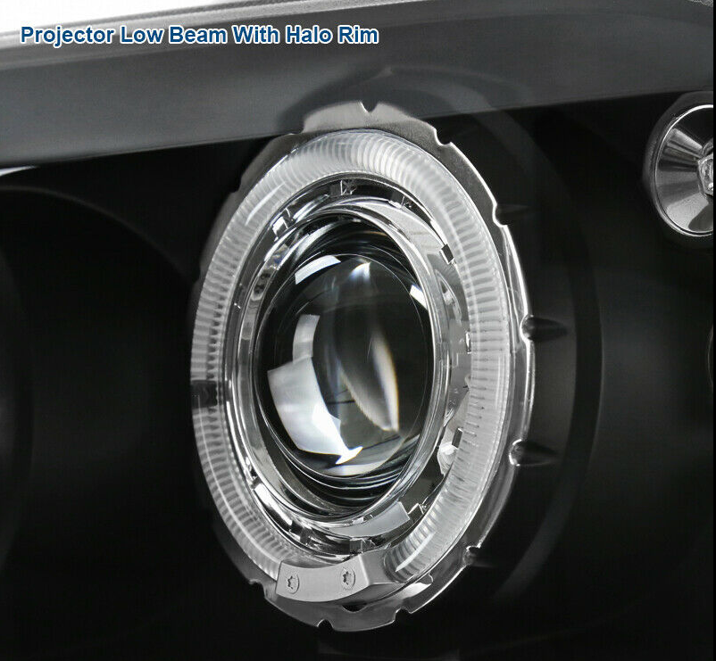 For 99-04 F250 F350 F450 Super Duty Black LED Halo Projector Headlights Lamps - NINTE