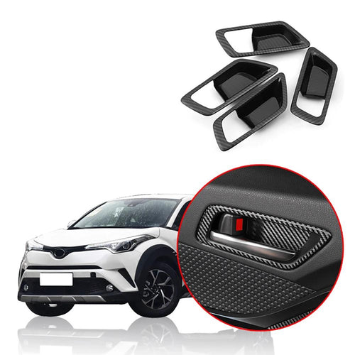 NINTE 4pcs ABS Interior Door Handle Bowl Surround Cover Trim FOR Toyota C-HR 2016-2019 - NINTE