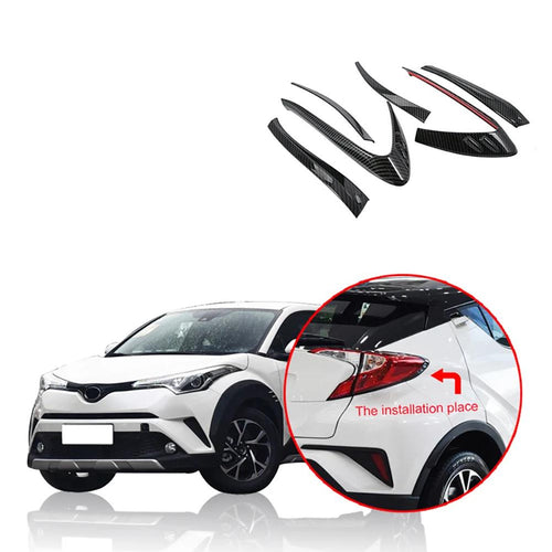 NINTE Car Accessories ABS Chrome/Carbon Fiber Rear Taillight Tail Light Cover Trim For Toyota C-HR 2017-2019 - NINTE