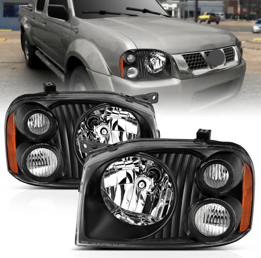 2001-2004 Replacement Black Headlight Pair for Nissan Frontier With Hi/Lo Bulb - NINTE