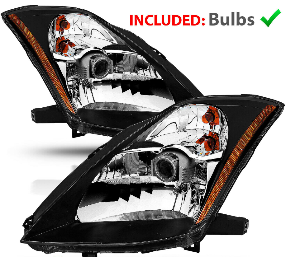 For 2003 2004 2005 Nissan 350Z Coupe Z33 Fairlady Black Projector Headlights Set - NINTE