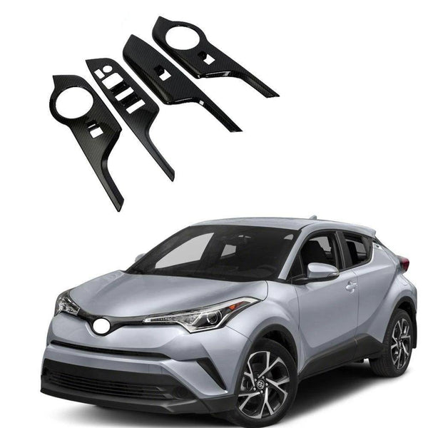 NINTE ABS Carbon Fiber Door Window Switch Board Cover Car Styling Accessories For Toyota C-HR 2017-2019 - NINTE