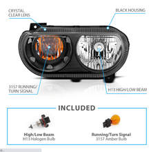Load image into Gallery viewer, For 2008-2014 Dodge Challenger JDM Headlights Lamp Replacement Black Left+Right - NINTE