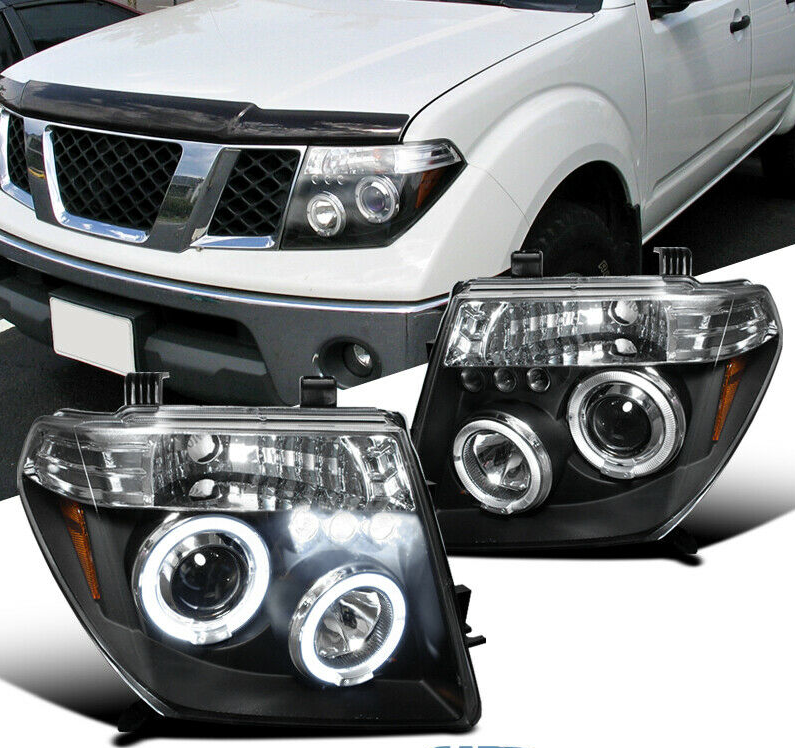 For 05-08 Nissan Frontier 05-07 Pathfinder Black LED Halo Projector Headlights - NINTE
