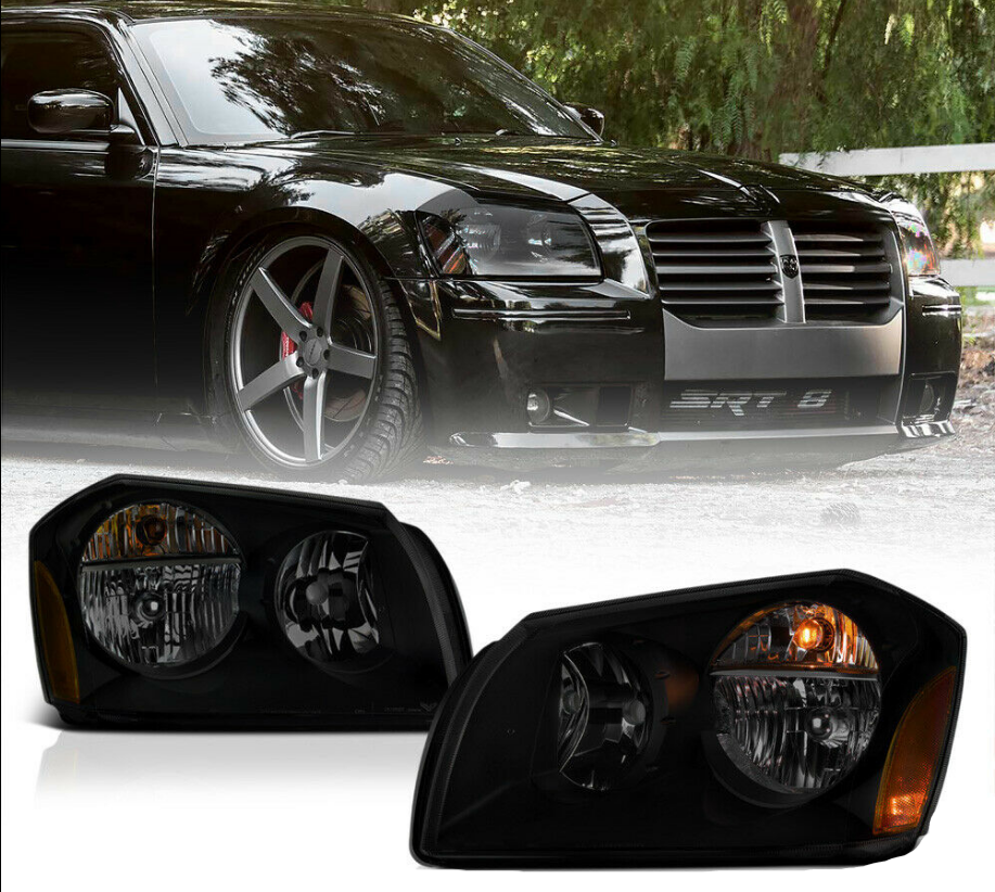 For 05-07 Dodge Magnum SE SRT SXT RT [SINISTER BLACK] Smoke Headlights Assembly - NINTE
