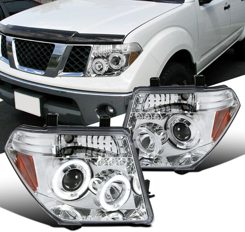 For 05-08 Nissan Frontier 05-07 Pathfinder Clear LED Halo Projector Headlights - NINTE