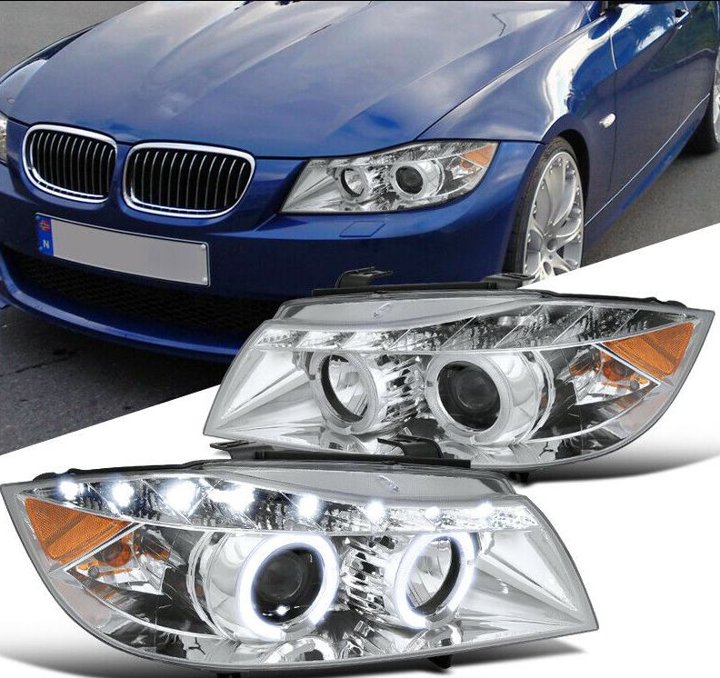 For 06-08 BMW E90 3-Series 325i 330i 4Dr Black LED Halo Projector Headlight Pair - NINTE