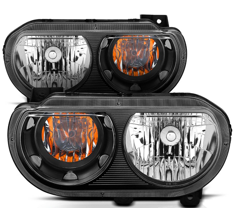 For 2008-2014 Dodge Challenger JDM Headlights Lamp Replacement Black Left+Right - NINTE