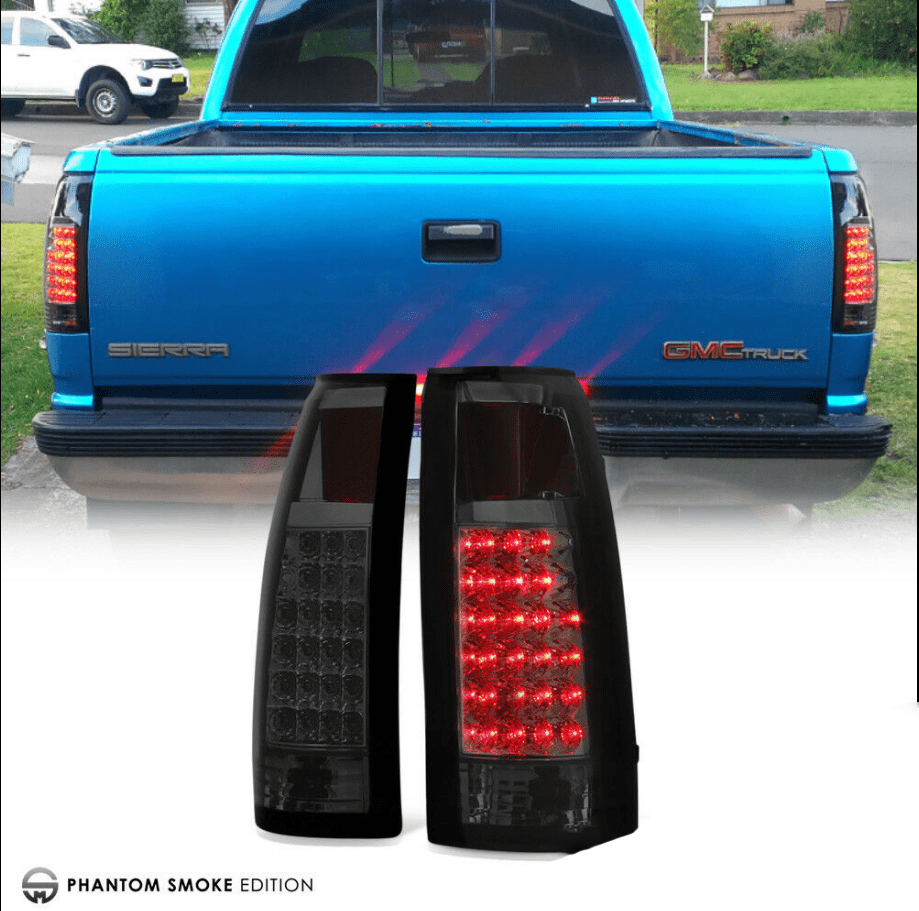 """Exclusive"" 88-98 Chevy GMC C/K Pickup Dark Smoke LED Rear Tail Lights Assembly - NINTE"