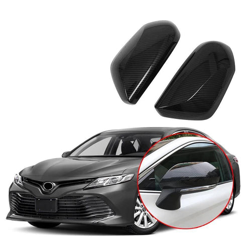 Side Door Rear View Mirror Cover Trim for Toyota Camry 2018 Carbon Fiber&Chrome - NINTE