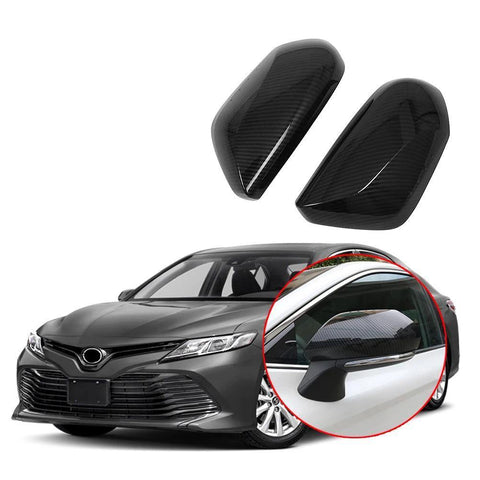 NINTE Side Door Rear View Mirror Cover Trim For Toyota Camry 2018-2020 Carbon Fiber&Chrome - NINTE