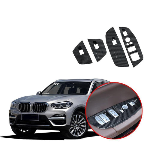 NINTE Inner Window Lift Button Switch Frame Cover Trim For BMW X3 G01 2018 2019 - NINTE