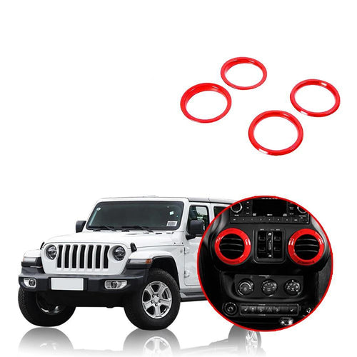Car Dashboard Panel Air Conditioning Vent Outlet Decoration Cover Ring for Jeep Wrangler JL 2018 2019 NINTE - NINTE