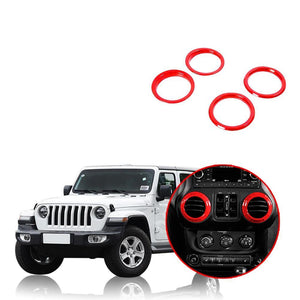 NINTE Car Dashboard Panel Air Conditioning Vent Outlet Decoration Cover Ring For Jeep Wrangler JL 2018 2019 - NINTE