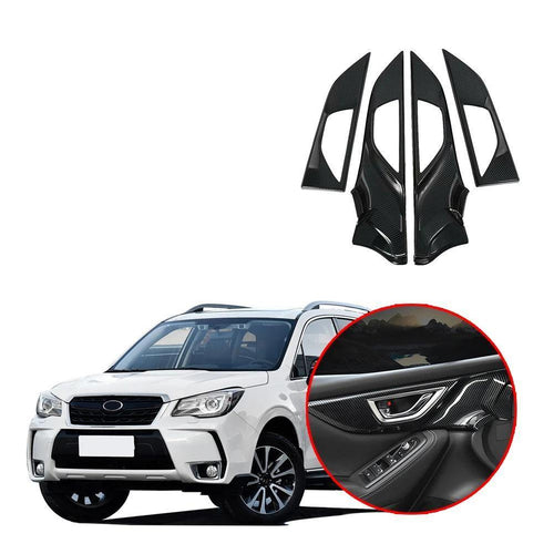 4PCS Carbon Fiber Inner Door Handle Panel Cover Trim For Subaru Forester 2019 NINTE - NINTE
