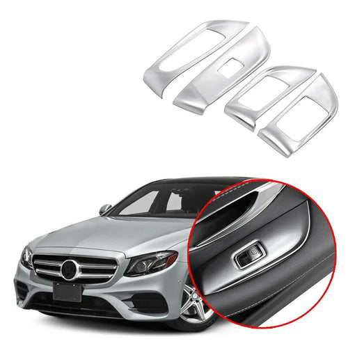 Car Interior Door Window Lift Switch Cover Frame Trim Styling ABS 4pcs/set For Mercedes Benz E Class 2016-2018 NINTE - NINTE