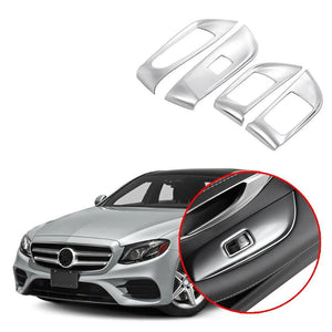 NINTE Car window glass lifter decoration Stainless Steel stickers Fit For 2016 Mercedes Benz E Class W213 E200L E300L - NINTE