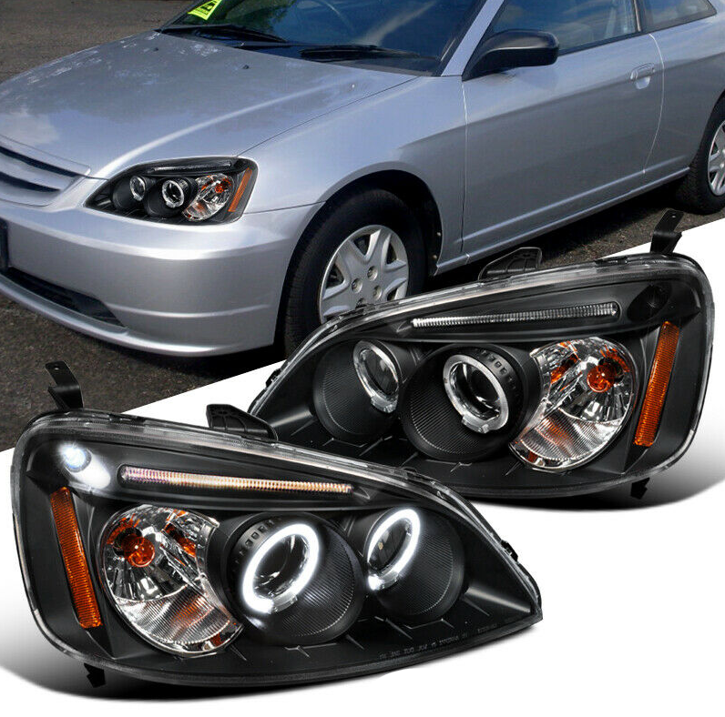 For Honda 01-03 Civic 2/4Dr Black LED Halo Projector Headlights Head Lamps Pair - NINTE