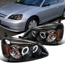 Laden Sie das Bild in den Galerie-Viewer, For Honda 01-03 Civic 2/4Dr Black LED Halo Projector Headlights Head Lamps Pair - NINTE