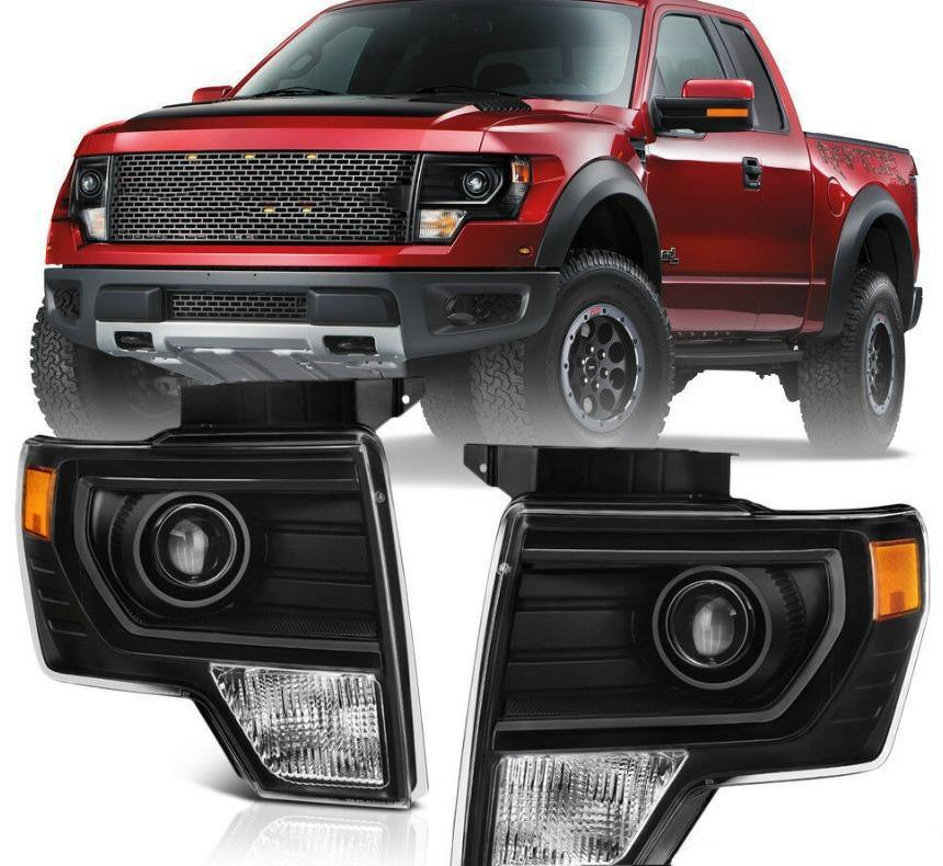 For 09-14 Ford F150 Black Projector Headlight Lamp L+R - NINTE