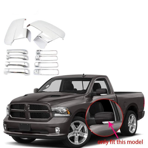 for 2013-2018 DODGE RAM 1500 Side View Mirror+4 Door Handle Cover Chrome - NINTE