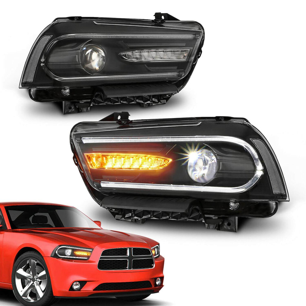 NINTE LED DRL Projectors Headlights w/ Dual Beam Front For 2011-2014 Dodge Charger
