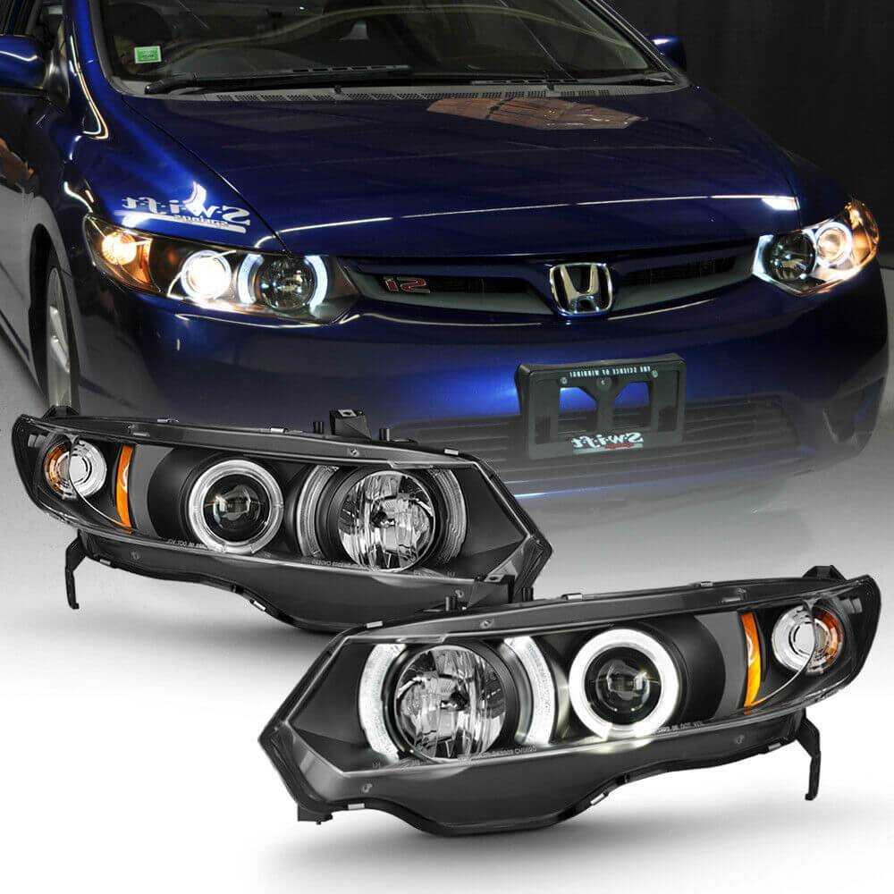 NINTE For Blk 2006-2011 Honda Civic 2Dr Coupe LED Halo Projector Headlights Headlamps