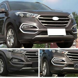 NINTE Chrome For Hyundai Tucson 2015 2016 2017 Front Fog Light lamp Cover Trim Modling - NINTE