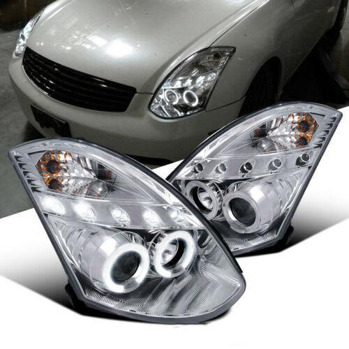 For 03-07 Infiniti G35 2Dr Coupe Clear Lens LED Halo Projector Headlights Pair - NINTE
