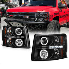 Load image into Gallery viewer, For 07-13 Chevy Silverado 1500 2500 3500 Black LED Halo Lamp Projector Headlight - NINTE
