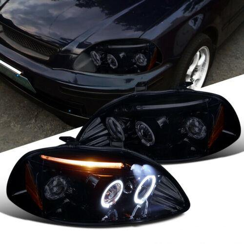 Glossy Black Fit Honda 96-98 Civic 2/3/4Dr Tinted LED Halo Projecto - NINTE
