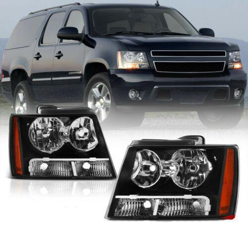 For 07-14 Chevy Suburban Tahoe Avalanche 1500 2500 Black Headlight Head Lamp L+R - NINTE