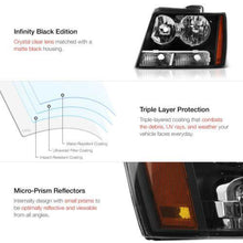 Load image into Gallery viewer, For 07-14 Chevy Suburban Tahoe Avalanche 1500 2500 Black Headlight Head Lamp L+R - NINTE