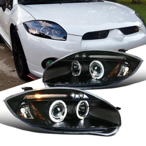 For Mitsubishi 06-11 Eclipse LED Halo Projector Headlights Head Lamps Black Pair - NINTE