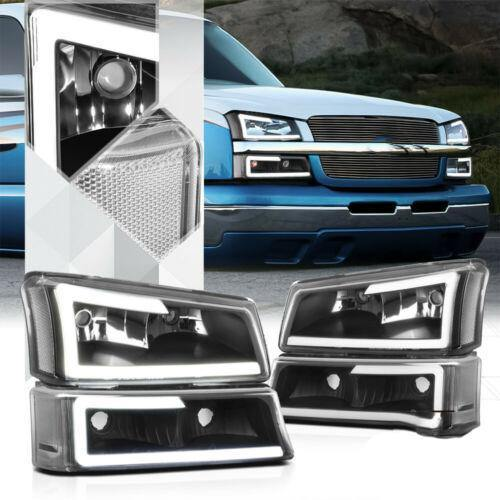 Black *LED BAR DRL* Headlight+Bumper Clear Signal for 03-07 Silverado/Avalanche - NINTE