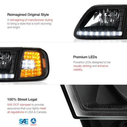 For FORD 97-03 F150 Black 4PC Headlight Corner Signal Lamp w/BRIGHT LED SMD Bulb - NINTE