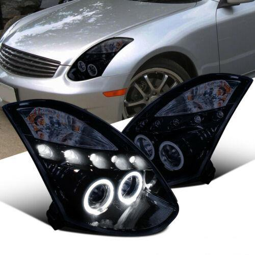 Glossy Piano Black For Infiniti 03-07 G35 2Dr Coupe Tinted Projector Headlights - NINTE