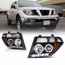 Load image into Gallery viewer, For 05-07 Nissan Pathfinder/Frontier Black Halo Ring LED DRL Projector Headlight - NINTE