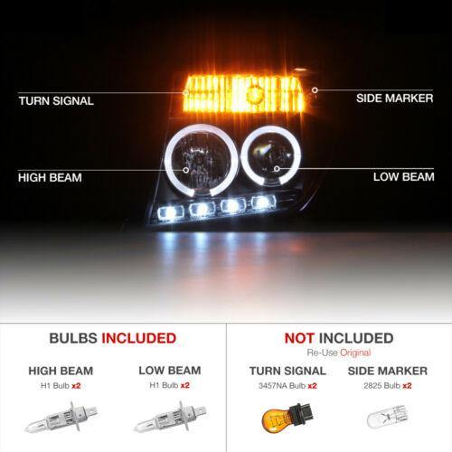 For 05-07 Nissan Pathfinder/Frontier Black Halo Ring LED DRL Projector Headlight - NINTE